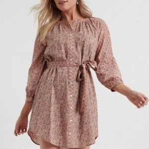 Lucky Brand Mixed Print Embroidered Peasant Dress